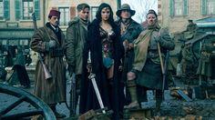"""Saïd Taghmadui as Sameer, Chris Pine as Steve Trevor, Gal Gadot as Wonder Woman, Eugene Brave Rock as the Chief and Ewen Bremner as Charlie in """"Wonder Woman."""""""