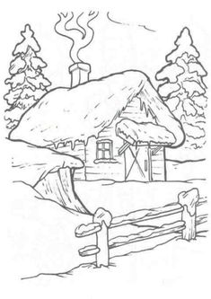 House Colouring Pages, Coloring Book Pages, Christmas Drawing, Christmas Paintings, Christmas Colors, Christmas Art, Crewel Embroidery, Embroidery Patterns, Wood Burning Patterns