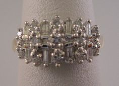Ladies 1/2ct Diamond Baguette & Round Ring Wide Band in Solid 14k 2 Tone Gold by americanjewelryco, $355.00