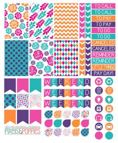 Purple and orange themed planner