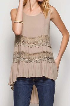 Solid lace trim tiered tank top. Lace Trim Top by Nadya's Closet. Clothing - Tops - Tees & Tanks California