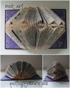 on pins and needles Book Folding, Paper Folding, Paper Book, Paper Art, Book Crafts, Paper Crafts, Book Art, Book Sculpture, Paper Sculptures