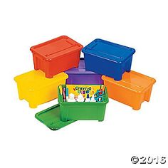 For a quick solution to easy classroom clean up have our colorful plastic storage bins handy for your students. These 10 1/2 x 7 x 5 1/2 bins are excellent ...
