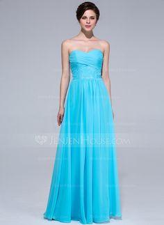Bridesmaid Dresses - $108.99 - A-Line/Princess Sweetheart Floor-Length Chiffon Bridesmaid Dress With Ruffle Lace (007037168) http://jenjenhouse.com/A-Line-Princess-Sweetheart-Floor-Length-Chiffon-Bridesmaid-Dress-With-Ruffle-Lace-007037168-g37168