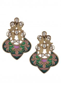 Silver Traditional Crystal Enameled Earrings
