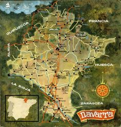 """""""Navarra"""". Mapa carreteras pintado acuarela (ca. 1940)"""