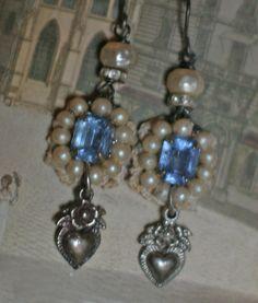 Rhapsody In Blue  assemblage earrings by crownedbygrace.etsy.com