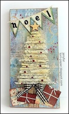 I loved the rolled paper tree Altered Art Christmas, Christmas Mix, Christmas Projects, Christmas Canvas, Do It Yourself Design, Altered Canvas, Paper Tree, Theme Noel, Christmas Inspiration