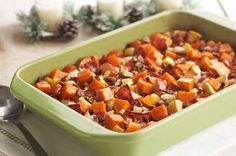 Apple-Bacon Sweet Potatoes Recipe  1  large  onion, chopped 4   slices   Bacon (with sea salt), chopped 1-1/2   lb.  sweet potatoes (2 large), peeled, cut into bite-size chunks 2    apples, chopped 1/2   cup  apple juice 1   tsp.  ground cinnamon 1/4   cup  chopped PLANTERS Pecans
