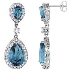 14K White Gold Natural London Blue Topaz Tear Drop Earrings White Sapphire and Diamond Accents, 1 3/8 inches long.
