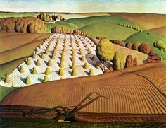 Grant Wood 1931 Fall Plowing oil on canvas x cm The John Deere Collection, Moline, Illinois Elements And Principles, Elements Of Art, Design Elements, Iowa, Oklahoma, Grant Wood Paintings, Art Grants, Wooden Jigsaw Puzzles, American Gothic