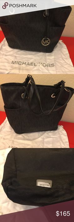 Black MK tote Good condition no signs of wear  Clean MK tote PVC 12 x 11 x 5.5 separate compartments not just open tote Michael Kors Bags Totes