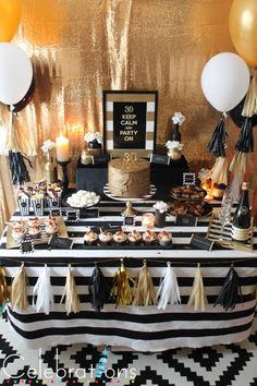 Birthday Party Ideas For Adults Black And White Dessert Tables 19 Trendy Ideas – Party Decorations 2020 Surprise 30th Birthday, Gold Birthday Party, Adult Birthday Party, 50th Party, 30th Birthday Parties, Birthday Party Decorations For Adults, Birthday Party Ideas For Adults, 30th Birthday For Him, 30 Birthday
