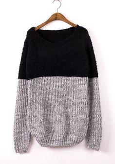Black Patchwork Print Round Neck Cotton Blend Sweater
