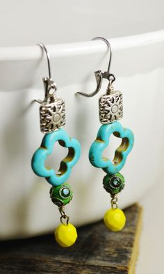 Quatrefoil earrings cloisonne earrings turquoise by TrappedInTime, $20.00