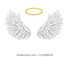 A pair of wide spread angel wings with golden halo or nimbus. Grey and white feathers. Contour drawing in modern line style with volume. Vector illustration isolated on white. Baby Angel Wings, Feather Angel Wings, Angel Wings Drawing, Wings Wallpaper, Contour Drawing, Illustration, Art Drawings Sketches, White Feathers, Images