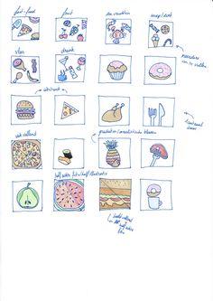 """Schetsen eerste 20 icoon ideeën """"eten"""""""