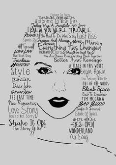 Poster print portrait of Taylor Swift made up of her song titles. It is printed on glossy photo paper and is posted is a cardboard Taylor Swift Tattoo, Taylor Swift Drawing, Taylor Swift Fan Club, Taylor Swift Music, Long Live Taylor Swift, Taylor Alison Swift, Red Taylor, Taylor Swift Posters, Taylor Swift Quotes
