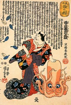 A cat dressed as a woman tapping the head of an octopus by Utagawa Kuniyoshi