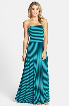I found this ~~ Elan Stripe Convertible Bias Cut Cover-Up Maxi Dress available at #Nordstrom-navy wide stripe