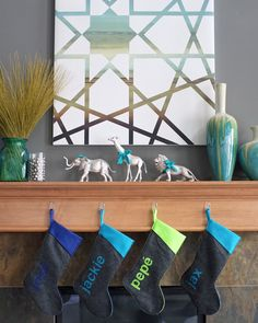 Painted plastic animals with bows! Painting covered with geometric pattern! Gray walls! <3 <3 <3   Teal and Lime