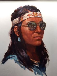 Brave with Shades - Oil Painting by Mike Desatnick - Native American kp Native American Pictures, Indian Man, Southwest Art, Western Art, Oakley Sunglasses, Nativity, Brave, Shades, Culture