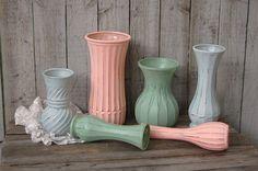 Peach shabby chic vases