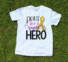 Cancer Shirt - Cancer Awareness - Fight like a Super Hero t-shirt with cancer awareness ribbon, childhood cancer, gold ribbon, fight cancer by TheCapeLady on Etsy
