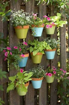 Paint terra-cotta pots in bright spring colors and hang them from your garden fence for a garden view that will make you smile.