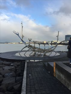 Sculpture at Reykjavik coast Iceland, Sidewalk, Coast, October, Sculpture, Ice Land, Side Walkway, Walkway, Sculptures