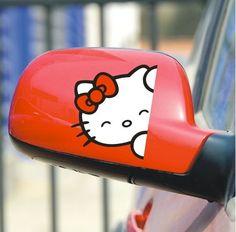 Hello Kitty Car Decals Stickers Auto Decal Car Decals for View Mirrors Hello Kitty Car, Hello Kitty Items, Sanrio Hello Kitty, Pretty Cats, Cute Cats, Kawaii, Car Mirror Decorations, Sentimental Circus, Girly Car