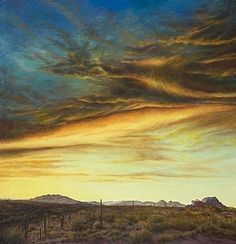 """""""Sunset with Black Mountain"""" by Lauren Knode Oil ~ 41 x 40"""