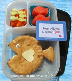 Pita fish bento school lunch, Lunchbox Love note