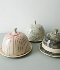 Butter dishes, plates. Handmade, pottery, ceramics, kitchen, dishware, saucer, stripes, patterns, designs.