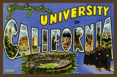 University of California Berkeley   - 1930 Postcard. Quilt Block printed on cotton. Ready to sew. Single 4x6 block $4.95.