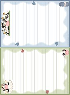stationery - note paper - printable - 1/2 page design cute cows (without lines too) cowsnp1l.gif (638×858)