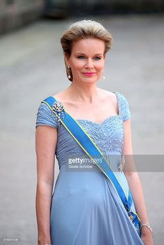 Queen Mathilde of Belgium attends the royal wedding of Prince Carl Philip of Sweden and Sofia Hellqvist at The Royal Palace on June 13, 2015 in Stockholm, Sweden.  (Photo by Gisela Schober/Getty Images)