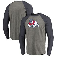 3b6c42c6700a Fresno State Bulldogs Fanatics Branded Primary Logo Long Sleeve Tri-Blend  Raglan T-Shirt - Heathered Gray