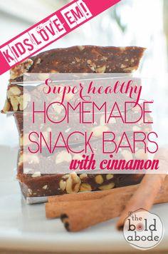 Super healthy and delicious homemade CINNAMON Snack Bars! Bonus? KIDS LOVE THEM!!!
