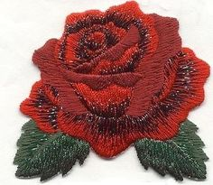 Iron On Embroidered Applique Patch Single Red Rose with Open Petals Green Leaves