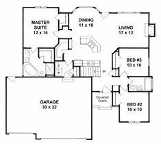 Plan # 1288 - Ranch   First floor plan
