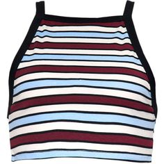 Zeden Crop Top in School Stripe By Motel ($34) ❤ liked on Polyvore featuring tops, striped top, retro crop top, form fitting tops, crop top and stripe top