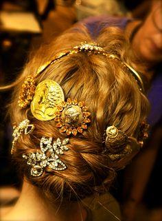 Princess braids & jewels : hair at Dolce & Gabbana S/S 2014