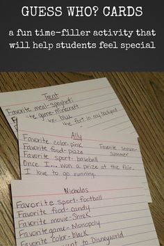 Give each student a recipe card and have her write about ten facts about herself. This can include favorites such as food, color or television show, or any other interesting facts. I like to do some brainstorming on the whiteboard about different facts that we can include, and then let students choose the ones that they want to write on their card.