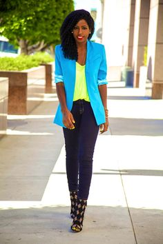 Neon blazer and top :)