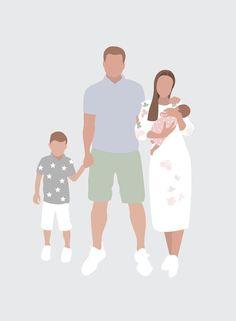 Family Illustration, Character Illustration, Digital Illustration, Graphic Illustration, Faceless Portrait, Portrait Art, Family Poster, Family Drawing, Mother Art