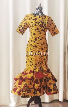 African Clothing for womenwith Ruffle Hem, African print dress, Ankara Dress African Party Dresses, African Wedding Dress, African Print Dresses, African Dress, Prom Dresses, Summer Dresses, Dress Prom, Peplum Dress, Yellow Wedding Dress