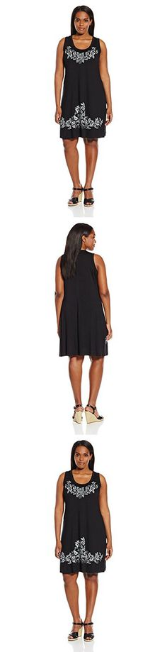 Karen Kane Women's Plus Size Print Tank Dress, Black, 0X