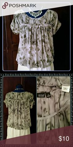 Chiffon tie dye top Super cute gray chiffon tie dye top with elastic at the hem. Great used condition. Ana Tops Blouses