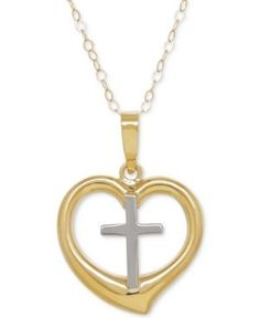 Two-Tone Cross in Heart Pendant Necklace in 10k Gold - Gold
